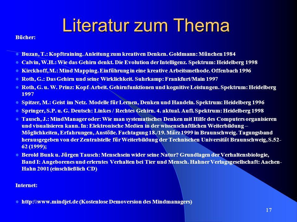17 Literatur zum Thema Bücher: Buzan, T.: Kopftraining. Anleitung zum kreativen Denken. Goldmann: München 1984 Calvin, W.H.: Wie das Gehirn denkt. Die