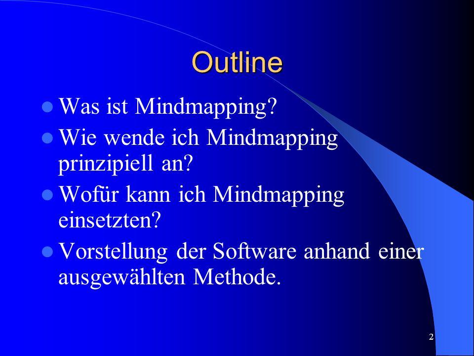 2 Outline Was ist Mindmapping? Wie wende ich Mindmapping prinzipiell an? Wofür kann ich Mindmapping einsetzten? Vorstellung der Software anhand einer