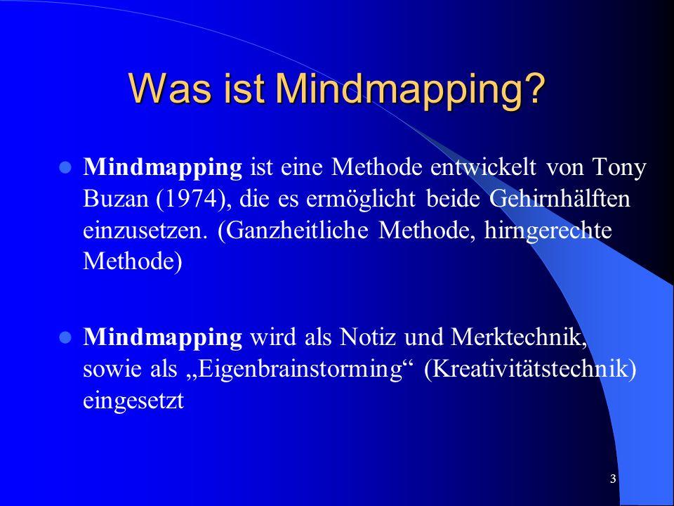 3 Was ist Mindmapping? Mindmapping ist eine Methode entwickelt von Tony Buzan (1974), die es ermöglicht beide Gehirnhälften einzusetzen. (Ganzheitlich