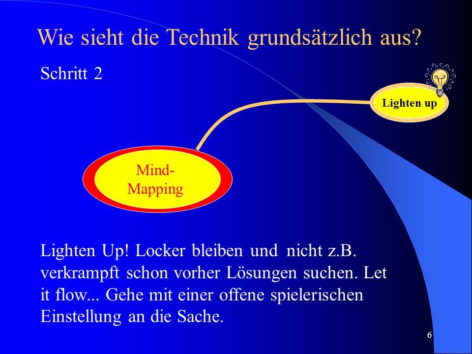 6 Lighten Up! Locker bleiben und nicht z.B. verkrampft schon vorher Lösungen suchen. Let it flow... Gehe mit einer offene spielerischen Einstellung an