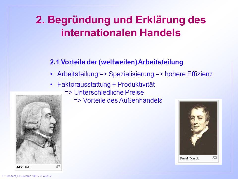 P. Schmidt, HS Bremen / BIHV - Folie 12 2. Begründung und Erklärung des internationalen Handels 2.1 Vorteile der (weltweiten) Arbeitsteilung Arbeitste