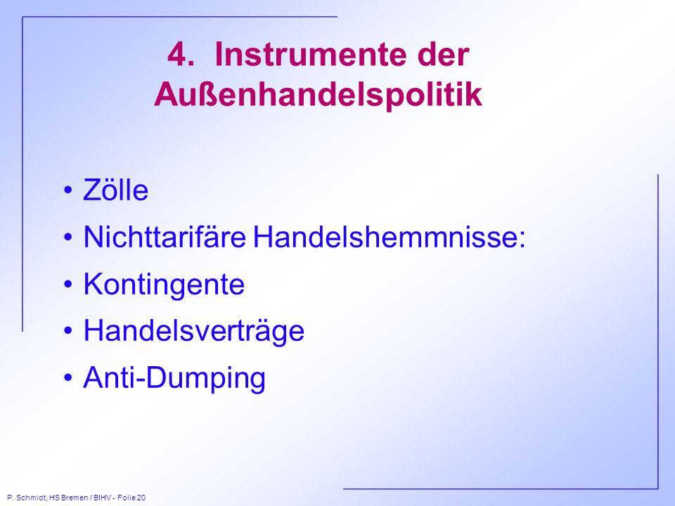 P. Schmidt, HS Bremen / BIHV - Folie 20 4. Instrumente der Außenhandelspolitik Zölle Nichttarifäre Handelshemmnisse: Kontingente Handelsverträge Anti-
