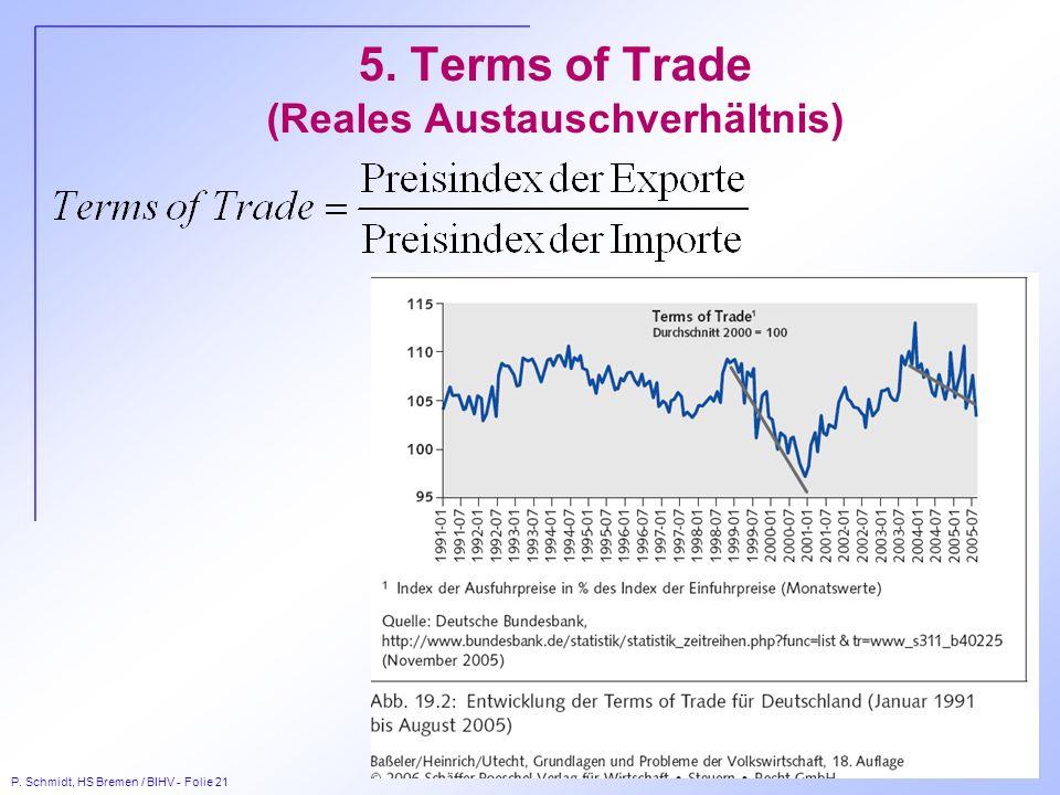 P. Schmidt, HS Bremen / BIHV - Folie 21 5. Terms of Trade (Reales Austauschverhältnis)