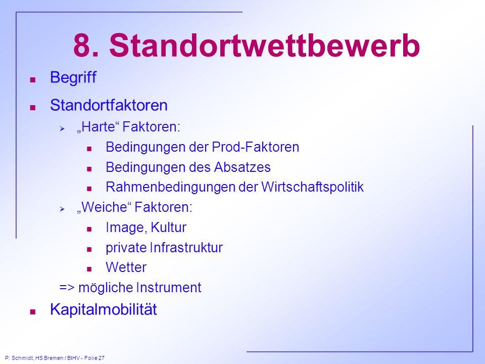 P. Schmidt, HS Bremen / BIHV - Folie 27 8. Standortwettbewerb n Begriff n Standortfaktoren Harte Faktoren: n Bedingungen der Prod-Faktoren n Bedingung
