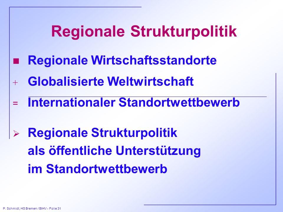 P. Schmidt, HS Bremen / BIHV - Folie 31 Regionale Strukturpolitik n Regionale Wirtschaftsstandorte + Globalisierte Weltwirtschaft = Internationaler St