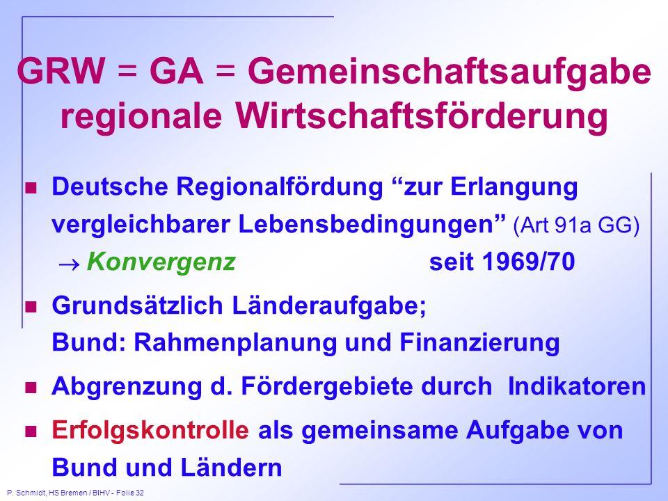 P. Schmidt, HS Bremen / BIHV - Folie 32 GRW = GA = Gemeinschaftsaufgabe regionale Wirtschaftsförderung Deutsche Regionalfördung zur Erlangung vergleic