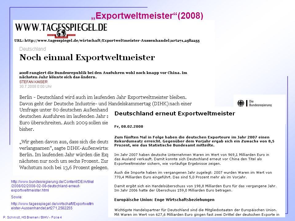 P. Schmidt, HS Bremen / BIHV - Folie 4 Exportweltmeister(2008) http://www.bundesregierung.de/Content/DE/Artikel /2008/02/2008-02-08-deutschland-erneut