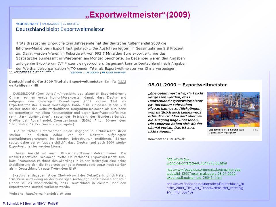 P. Schmidt, HS Bremen / BIHV - Folie 5 Exportweltmeister(2009) http://www.dw- world.de/dw/article/0,,4014770,00.html http://www.focus.de/community/kom