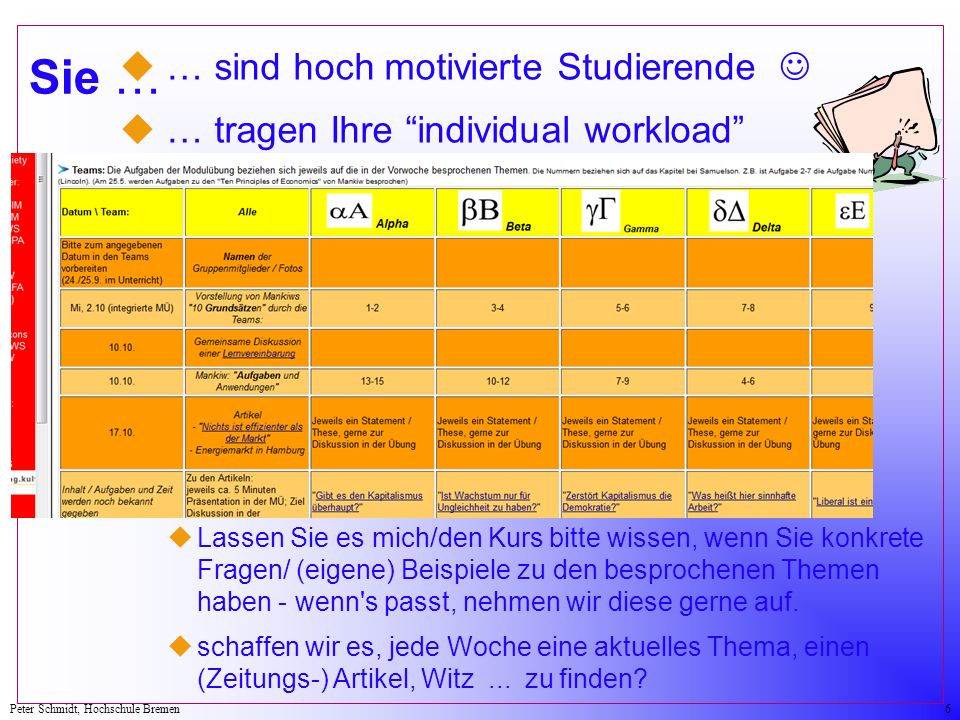 Peter Schmidt, Hochschule Bremen6 Sie … u … sind hoch motivierte Studierende u … tragen Ihre individual workload u … sind eingeladen zur Mitarbeit: uLassen Sie es mich/den Kurs bitte wissen, wenn Sie konkrete Fragen/ (eigene) Beispiele zu den besprochenen Themen haben - wenn s passt, nehmen wir diese gerne auf.
