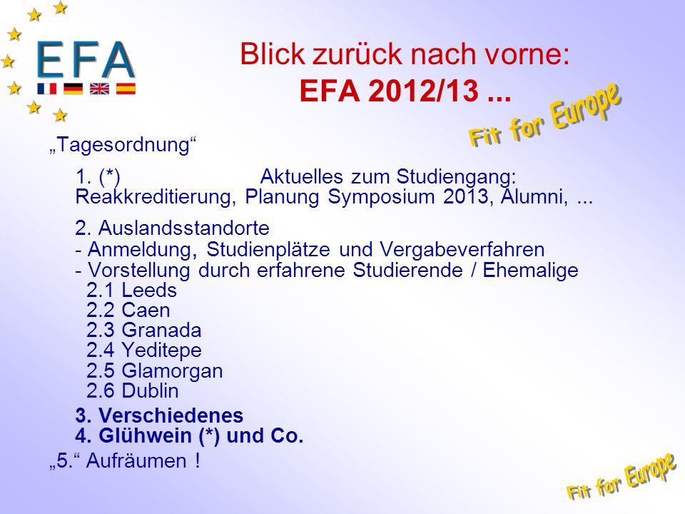 Blick zurück nach vorne: EFA 2012/13... Tagesordnung 1.