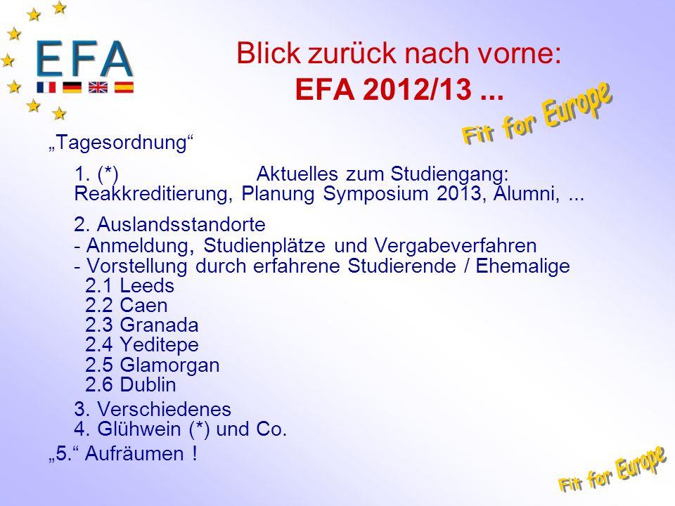 Blick zurück nach vorne: EFA 2012/13... Tagesordnung 1. (*) Aktuelles zum Studiengang: Reakkreditierung, Planung Symposium 2013, Alumni,... 2. Ausland
