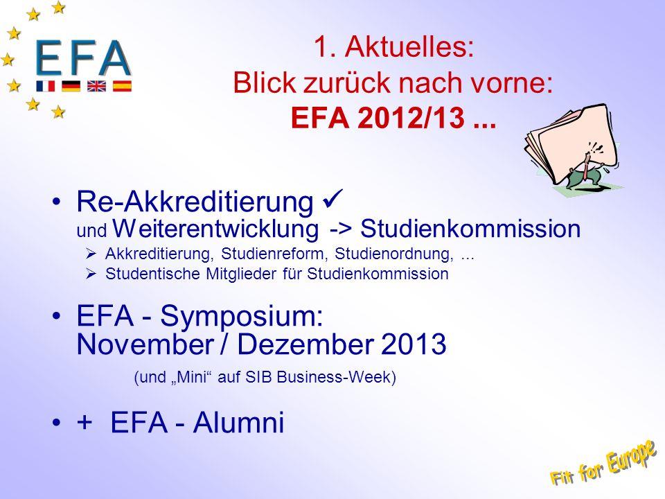 1. Aktuelles: Blick zurück nach vorne: EFA 2012/13... Re-Akkreditierung und Weiterentwicklung -> Studienkommission Akkreditierung, Studienreform, Stud