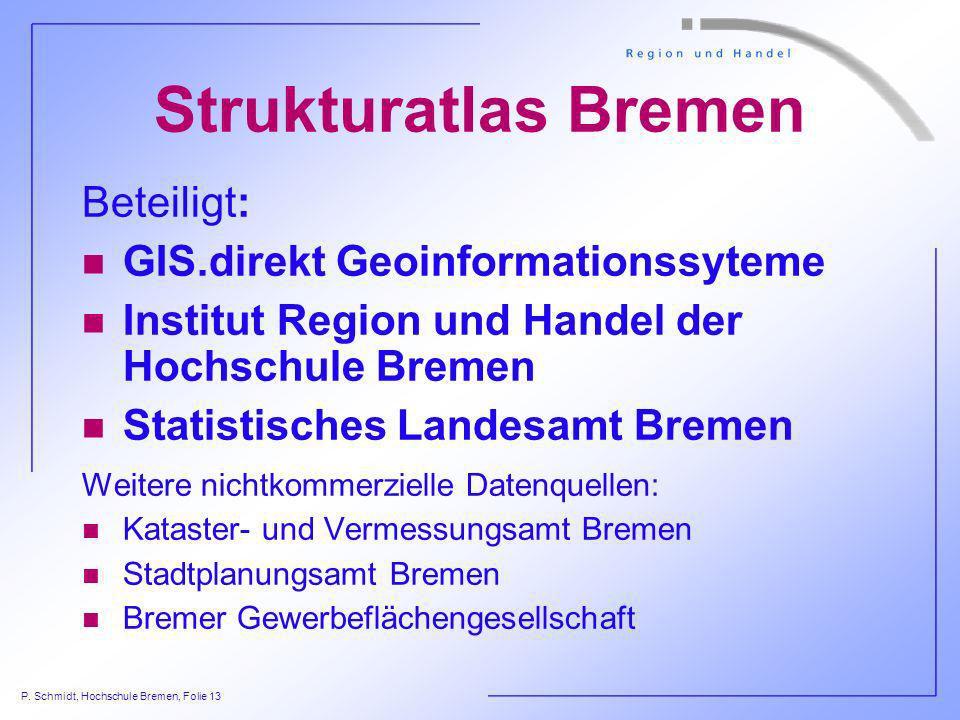 P. Schmidt, Hochschule Bremen, Folie 13 Strukturatlas Bremen Beteiligt: n GIS.direkt Geoinformationssyteme n Institut Region und Handel der Hochschule