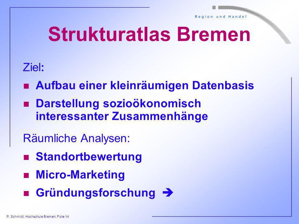 P. Schmidt, Hochschule Bremen, Folie 14 Strukturatlas Bremen Ziel: n Aufbau einer kleinräumigen Datenbasis n Darstellung sozioökonomisch interessanter