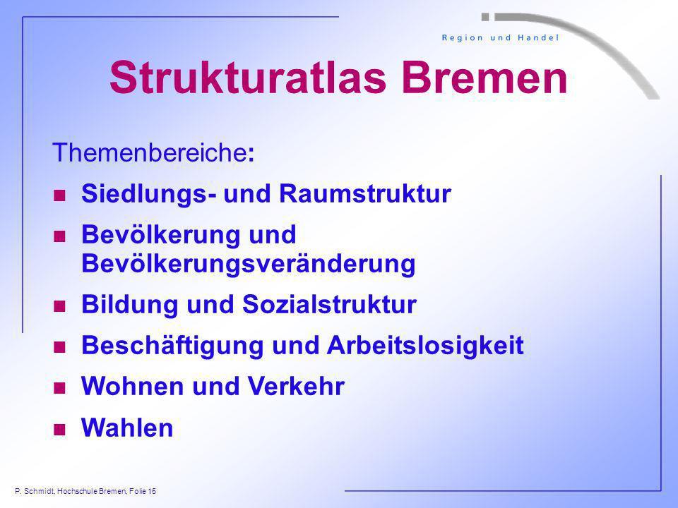P. Schmidt, Hochschule Bremen, Folie 15 Strukturatlas Bremen Themenbereiche: n Siedlungs- und Raumstruktur n Bevölkerung und Bevölkerungsveränderung n