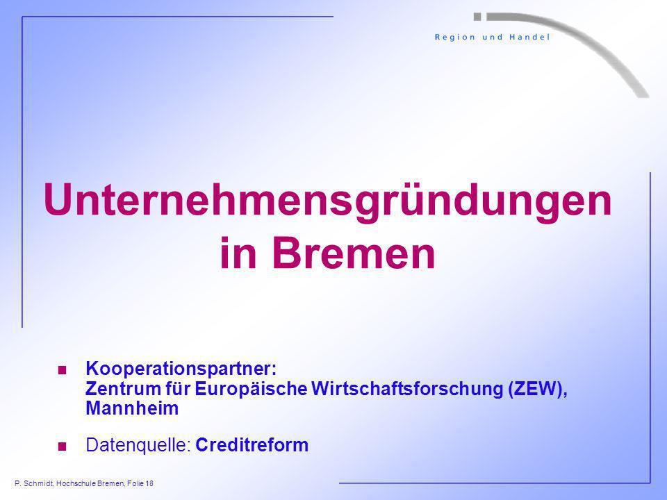 P. Schmidt, Hochschule Bremen, Folie 18 Unternehmensgründungen in Bremen n Kooperationspartner: Zentrum für Europäische Wirtschaftsforschung (ZEW), Ma