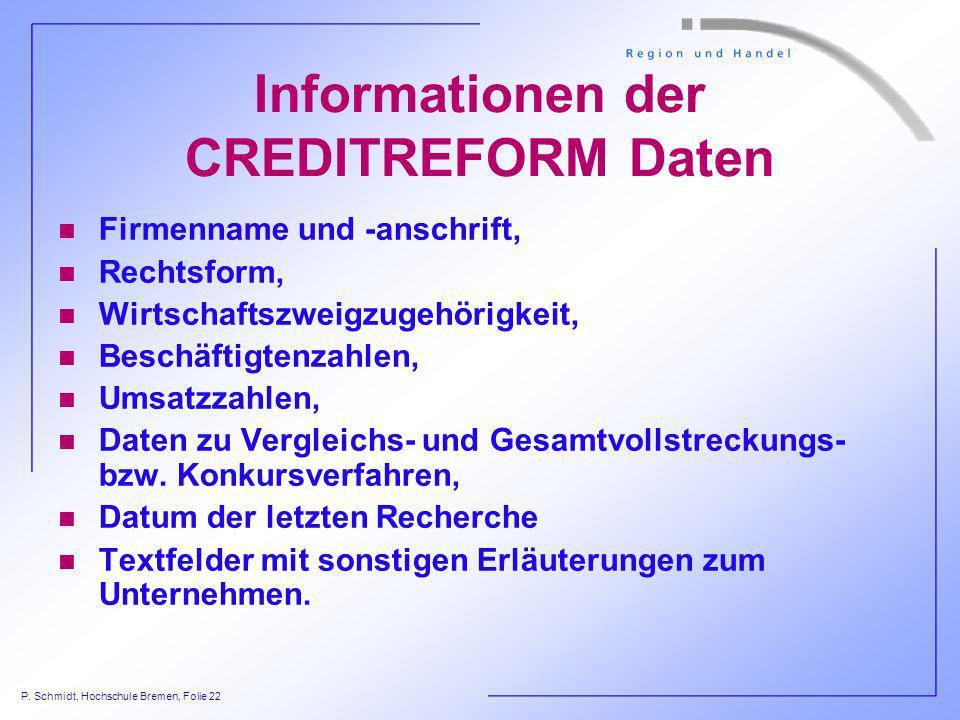 P. Schmidt, Hochschule Bremen, Folie 22 Informationen der CREDITREFORM Daten n Firmenname und -anschrift, n Rechtsform, n Wirtschaftszweigzugehörigkei
