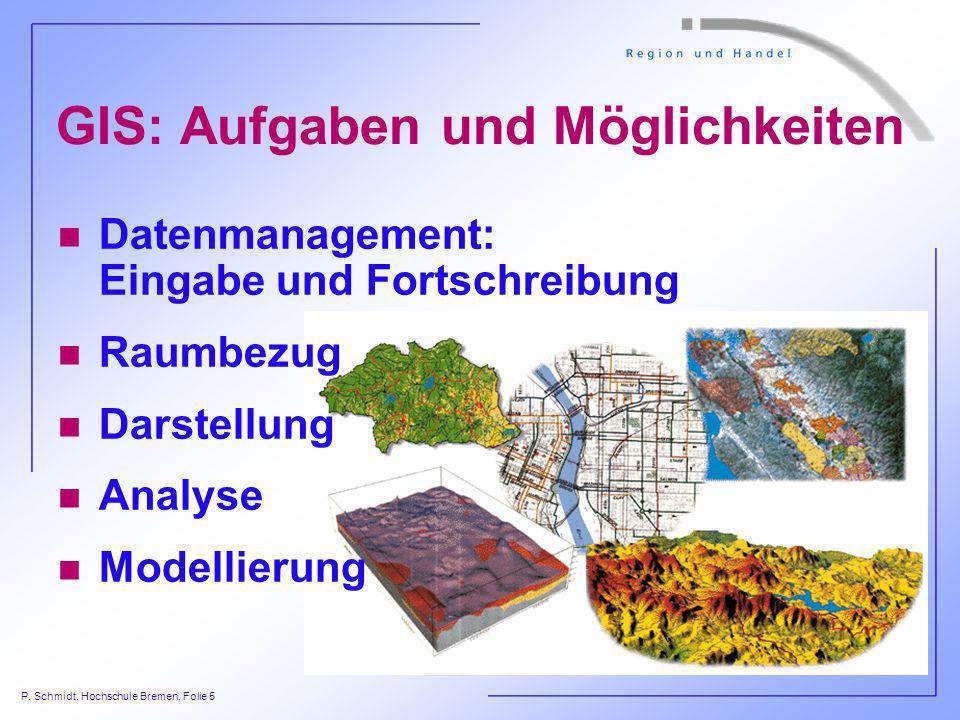 P. Schmidt, Hochschule Bremen, Folie 5 GIS: Aufgaben und Möglichkeiten n Datenmanagement: Eingabe und Fortschreibung n Raumbezug n Darstellung n Analy