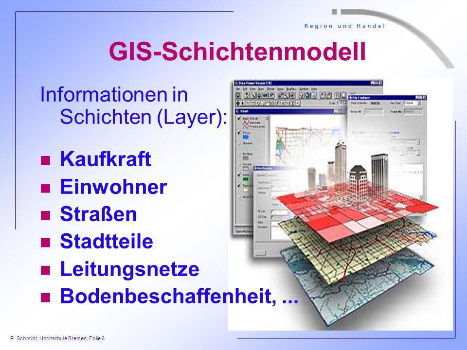 P. Schmidt, Hochschule Bremen, Folie 6 GIS-Schichtenmodell Informationen in Schichten (Layer): n Kaufkraft n Einwohner n Straßen n Stadtteile n Leitun