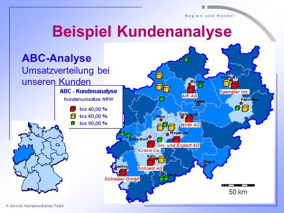 P. Schmidt, Hochschule Bremen, Folie 8 ABC-Analyse Umsatzverteilung bei unseren Kunden Beispiel Kundenanalyse