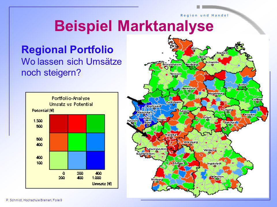 P. Schmidt, Hochschule Bremen, Folie 9 Regional Portfolio Wo lassen sich Umsätze noch steigern? Beispiel Marktanalyse