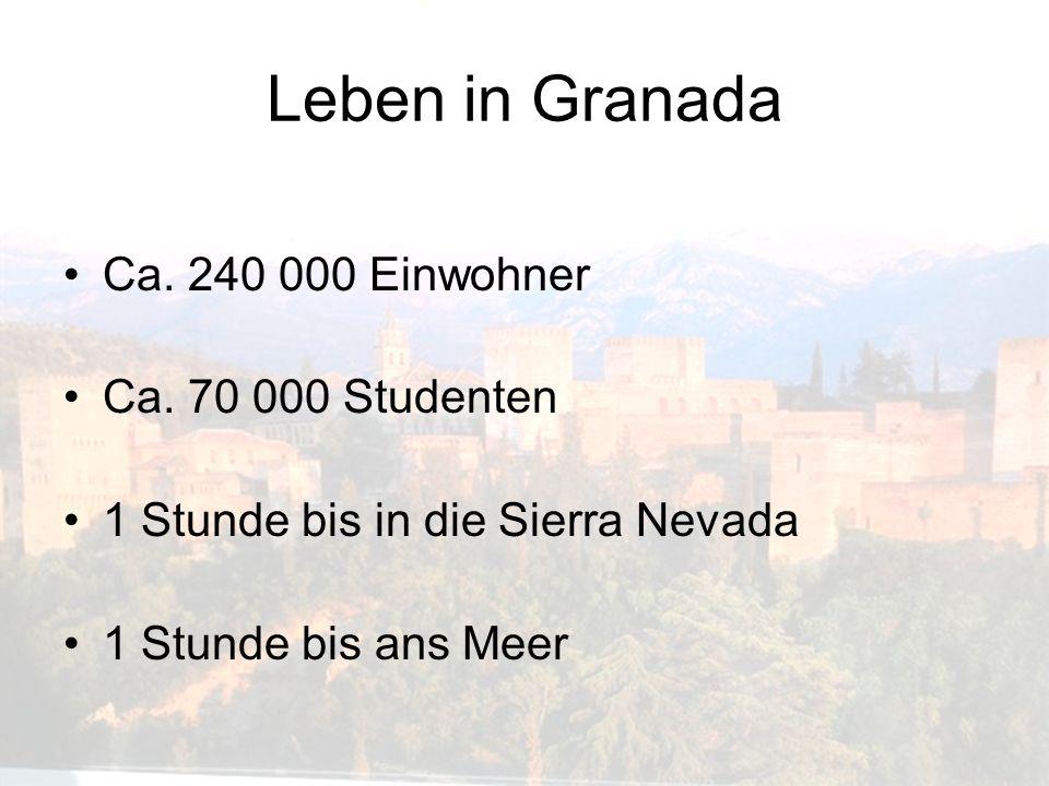 Leben in Granada Ca. 240 000 Einwohner Ca. 70 000 Studenten 1 Stunde bis in die Sierra Nevada 1 Stunde bis ans Meer