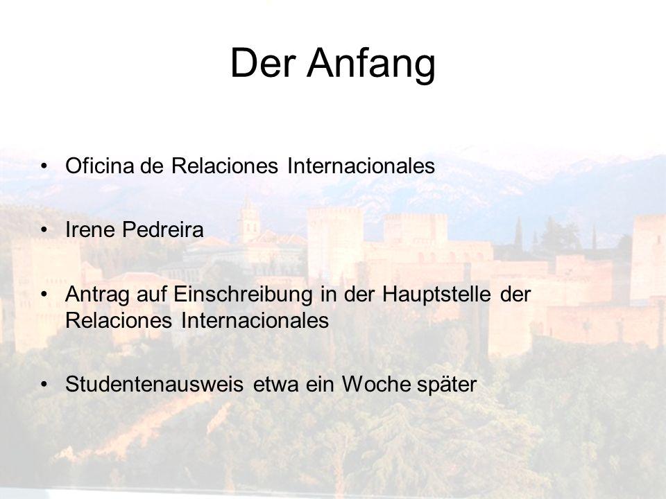Der Anfang Oficina de Relaciones Internacionales Irene Pedreira Antrag auf Einschreibung in der Hauptstelle der Relaciones Internacionales Studentenau