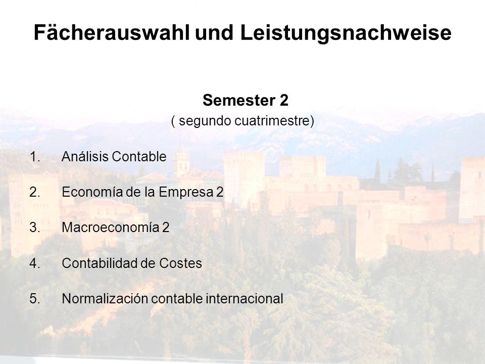 Fächerauswahl und Leistungsnachweise Semester 2 ( segundo cuatrimestre) 1.Análisis Contable 2.Economía de la Empresa 2 3.Macroeconomía 2 4.Contabilida