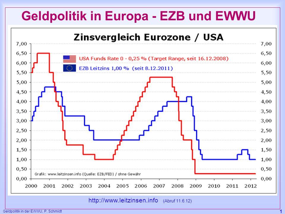 Geldpolitik in der EWWU, P. Schmidt 1 Geldpolitik in Europa - EZB und EWWU http://www.leitzinsen.info (Abruf 11.6.12)