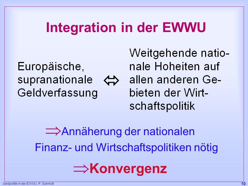 Geldpolitik in der EWWU, P. Schmidt 10 Integration in der EWWU Annäherung der nationalen Finanz- und Wirtschaftspolitiken nötig Konvergenz