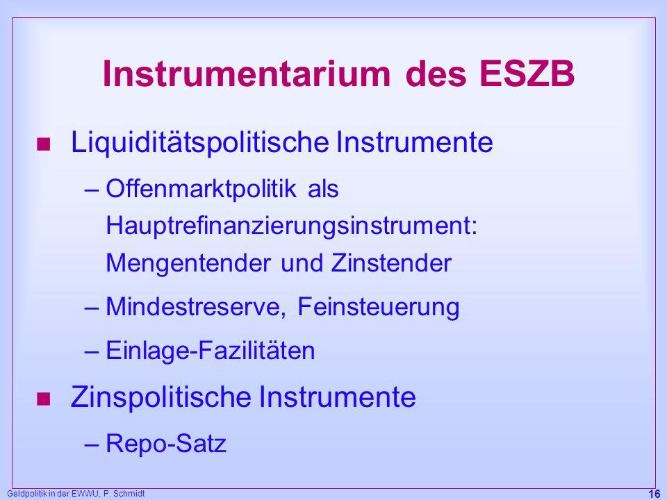 Geldpolitik in der EWWU, P. Schmidt 16 Instrumentarium des ESZB n Liquiditätspolitische Instrumente –Offenmarktpolitik als Hauptrefinanzierungsinstrum