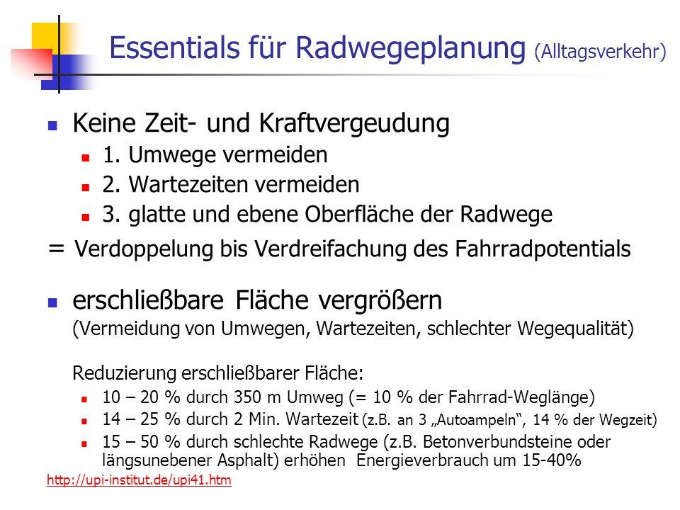 24.01.2014 WS 06/07 Energieplanung, Verkehrsplanung, Wasserwirtschaft 28 Essentials für Radwegeplanung (Alltagsverkehr) Keine Zeit- und Kraftvergeudung 1.