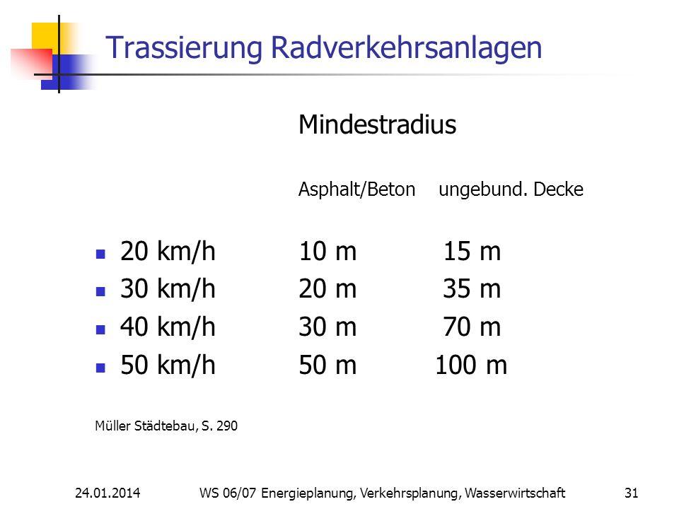 24.01.2014 WS 06/07 Energieplanung, Verkehrsplanung, Wasserwirtschaft 31 Trassierung Radverkehrsanlagen Mindestradius Asphalt/Beton ungebund.