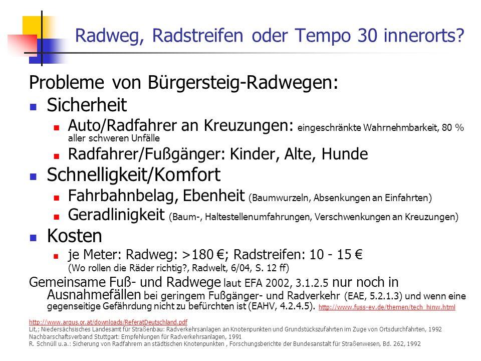 24.01.2014 WS 06/07 Energieplanung, Verkehrsplanung, Wasserwirtschaft 34 Radweg, Radstreifen oder Tempo 30 innerorts.