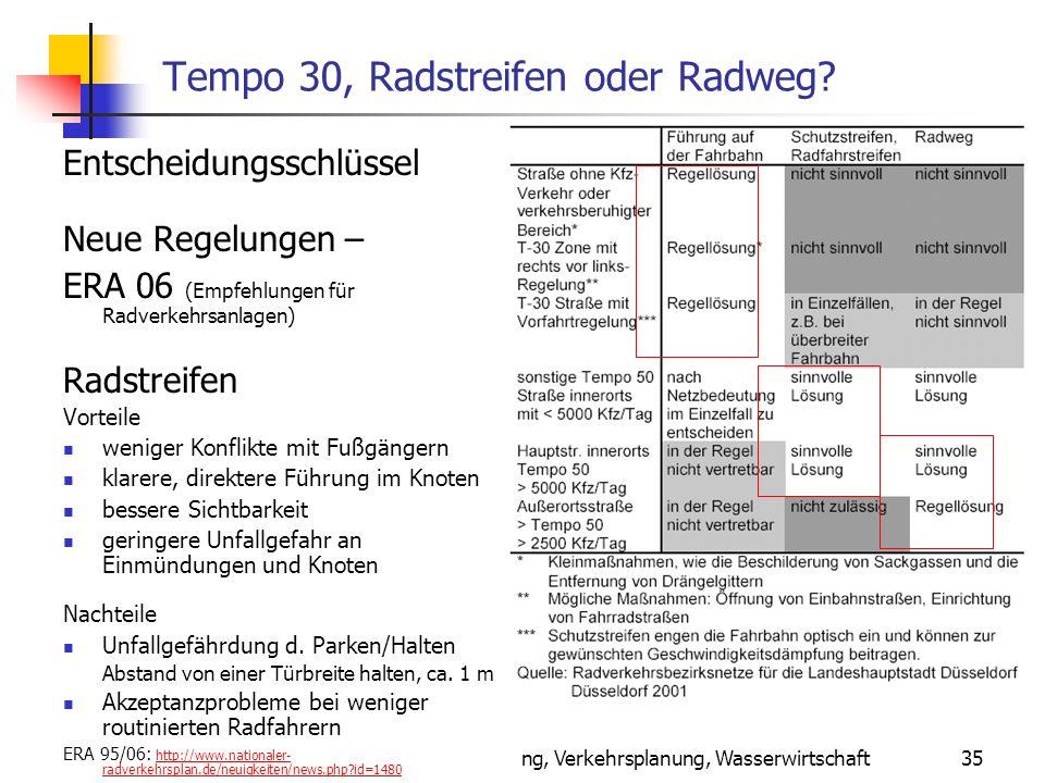 24.01.2014 WS 06/07 Energieplanung, Verkehrsplanung, Wasserwirtschaft 35 Tempo 30, Radstreifen oder Radweg.