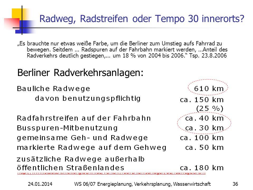 24.01.2014 WS 06/07 Energieplanung, Verkehrsplanung, Wasserwirtschaft 36 Radweg, Radstreifen oder Tempo 30 innerorts.