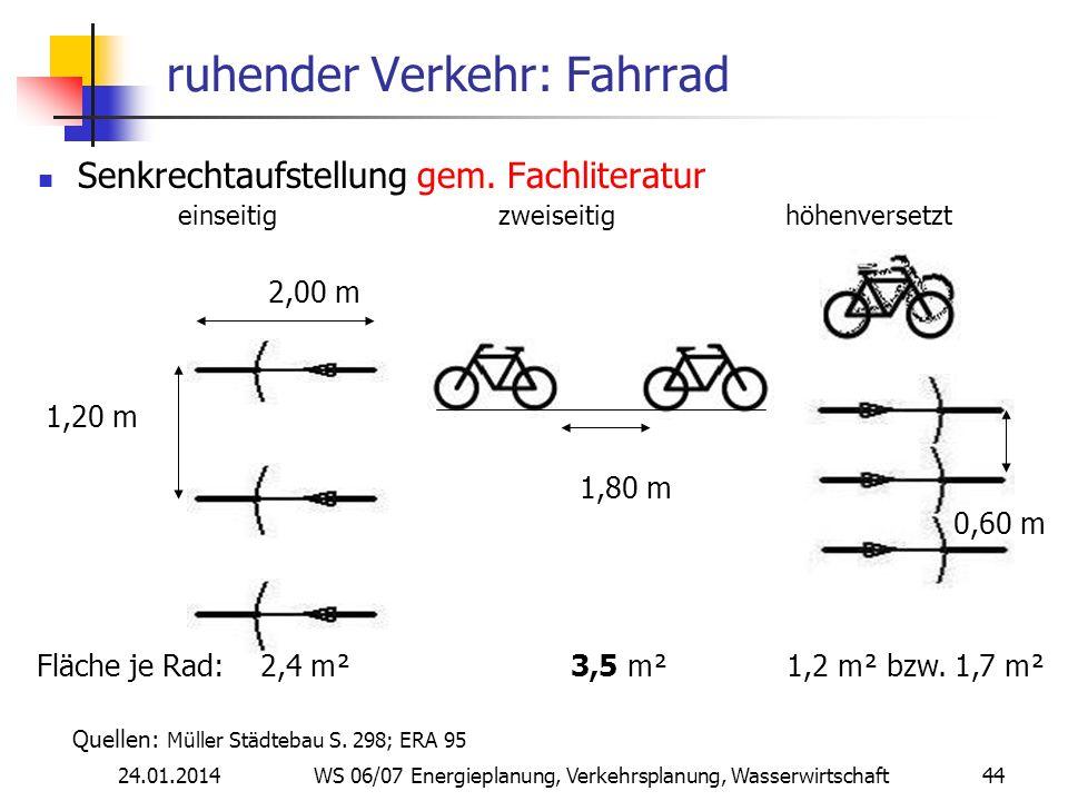 24.01.2014 WS 06/07 Energieplanung, Verkehrsplanung, Wasserwirtschaft 44 ruhender Verkehr: Fahrrad Senkrechtaufstellung gem.