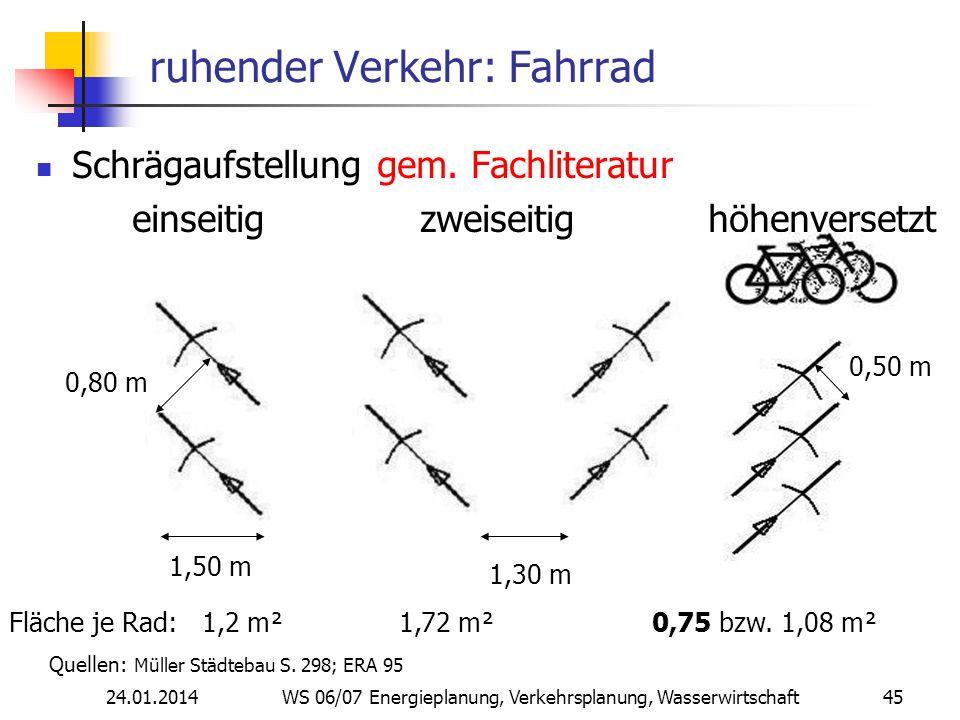 24.01.2014 WS 06/07 Energieplanung, Verkehrsplanung, Wasserwirtschaft 45 ruhender Verkehr: Fahrrad Schrägaufstellung gem.