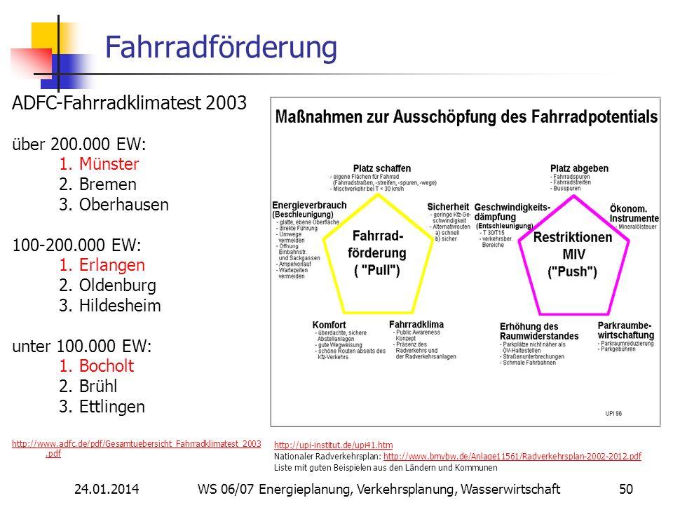 24.01.2014 WS 06/07 Energieplanung, Verkehrsplanung, Wasserwirtschaft 50 Fahrradförderung http://upi-institut.de/upi41.htm Nationaler Radverkehrsplan: http://www.bmvbw.de/Anlage11561/Radverkehrsplan-2002-2012.pdfhttp://www.bmvbw.de/Anlage11561/Radverkehrsplan-2002-2012.pdf Liste mit guten Beispielen aus den Ländern und Kommunen ADFC-Fahrradklimatest 2003 über 200.000 EW: 1.Münster 2.Bremen 3.Oberhausen 100-200.000 EW: 1.Erlangen 2.Oldenburg 3.Hildesheim unter 100.000 EW: 1.Bocholt 2.Brühl 3.Ettlingen http://www.adfc.de/pdf/Gesamtuebersicht_Fahrradklimatest_2003.pdf