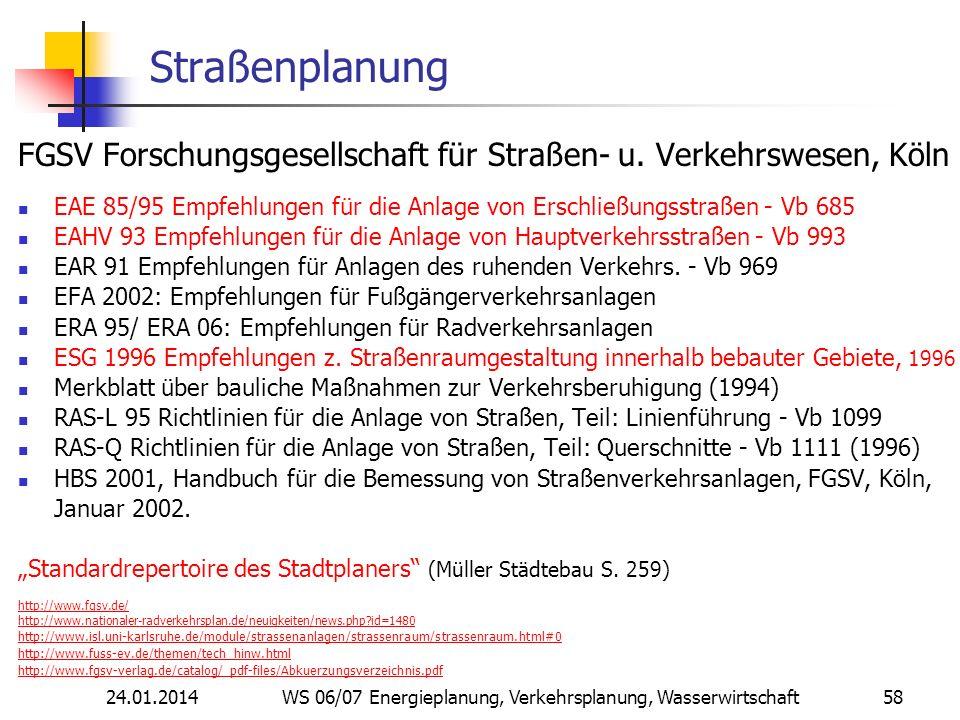 24.01.2014 WS 06/07 Energieplanung, Verkehrsplanung, Wasserwirtschaft 58 Straßenplanung FGSV Forschungsgesellschaft für Straßen- u.