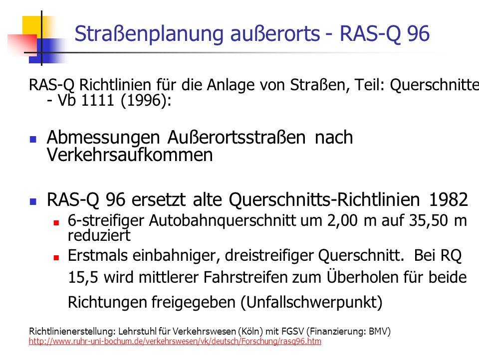 24.01.2014 WS 06/07 Energieplanung, Verkehrsplanung, Wasserwirtschaft 63 Straßenplanung außerorts - RAS-Q 96 RAS-Q Richtlinien für die Anlage von Straßen, Teil: Querschnitte - Vb 1111 (1996): Abmessungen Außerortsstraßen nach Verkehrsaufkommen RAS-Q 96 ersetzt alte Querschnitts-Richtlinien 1982 6-streifiger Autobahnquerschnitt um 2,00 m auf 35,50 m reduziert Erstmals einbahniger, dreistreifiger Querschnitt.