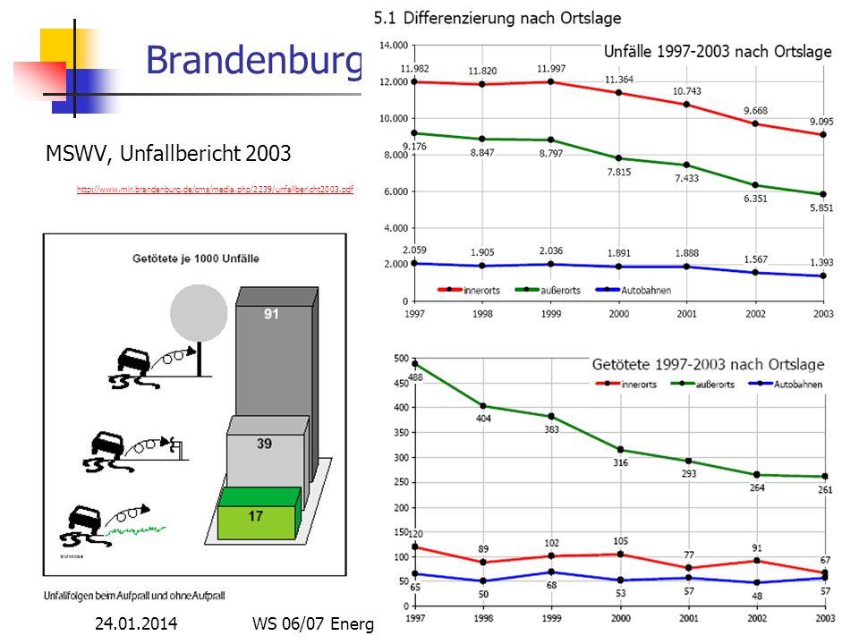 24.01.2014 WS 06/07 Energieplanung, Verkehrsplanung, Wasserwirtschaft 69 Brandenburg MSWV, Unfallbericht 2003 http://www.mir.brandenburg.de/cms/media.php/2239/unfallbericht2003.pdf