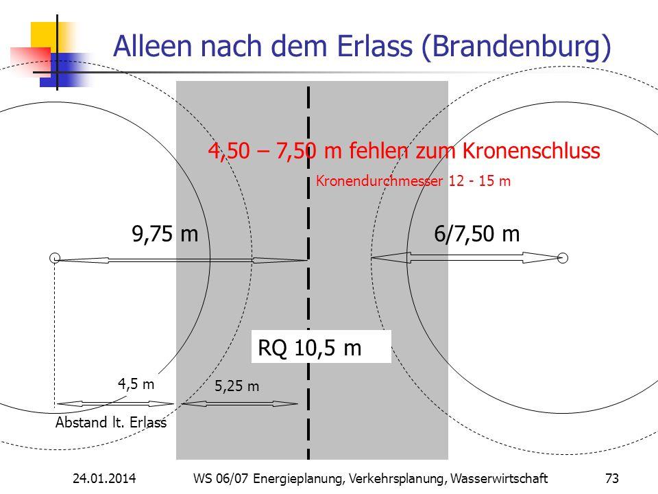 24.01.2014 WS 06/07 Energieplanung, Verkehrsplanung, Wasserwirtschaft 73 Alleen nach dem Erlass (Brandenburg) RQ 10,5 m 9,75 m 4,5 m 6/7,50 m 4,50 – 7