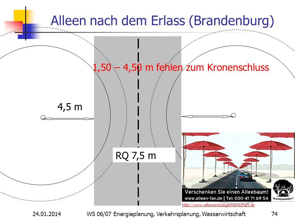 24.01.2014 WS 06/07 Energieplanung, Verkehrsplanung, Wasserwirtschaft 74 Alleen nach dem Erlass (Brandenburg) RQ 7,5 m 4,5 m 1,50 – 4,50 m fehlen zum Kronenschluss http://www.alleenschutzgemeinschaft.de