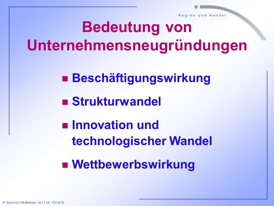 P. Schmidt, HS Bremen, 19.11.04 - Folie 10 Bedeutung von Unternehmensneugründungen n Beschäftigungswirkung n Strukturwandel n Innovation und technolog