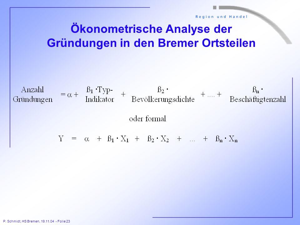 P. Schmidt, HS Bremen, 19.11.04 - Folie 23 Ökonometrische Analyse der Gründungen in den Bremer Ortsteilen