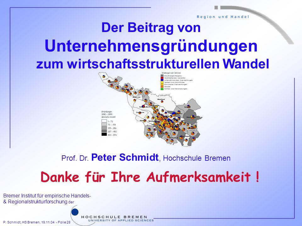 P. Schmidt, HS Bremen, 19.11.04 - Folie 28 Bremer Institut für empirische Handels- & Regionalstrukturforschung der Der Beitrag von Unternehmensgründun