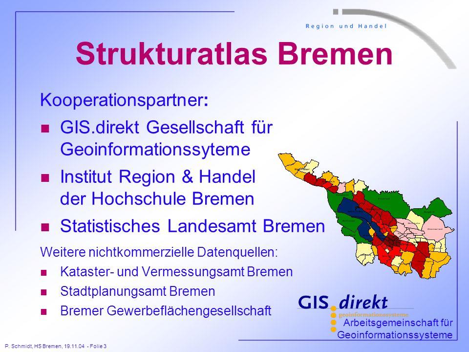 P. Schmidt, HS Bremen, 19.11.04 - Folie 3 Strukturatlas Bremen Kooperationspartner: n GIS.direkt Gesellschaft für Geoinformationssyteme n Institut Reg