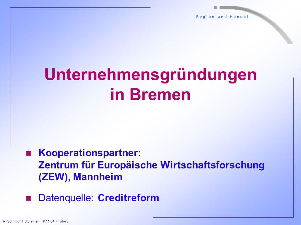 P. Schmidt, HS Bremen, 19.11.04 - Folie 8 Unternehmensgründungen in Bremen n Kooperationspartner: Zentrum für Europäische Wirtschaftsforschung (ZEW),