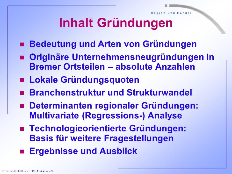 P. Schmidt, HS Bremen, 19.11.04 - Folie 9 Inhalt Gründungen n Bedeutung und Arten von Gründungen n Originäre Unternehmensneugründungen in Bremer Ortst